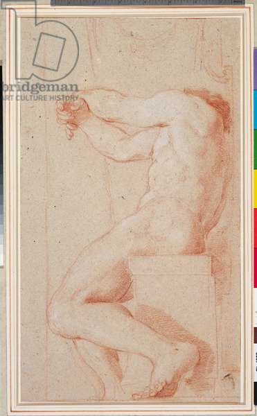 The vault of the church of S Luigi dei Francesi: a study of the left-hand seated figure, c.1653-60 (red chalk on grey paper)