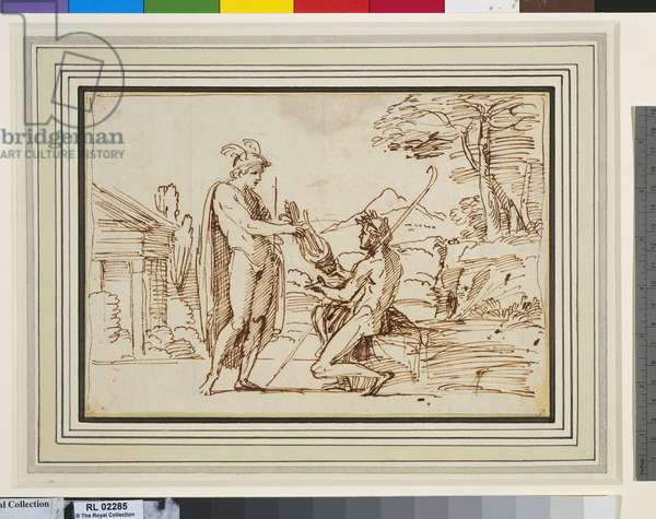 Apollo receiving the lyre from Mercury, c.1603 (pen & ink on paper)