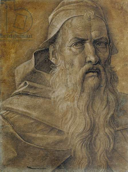 Head of a bearded man, c.1460-70 (brush & ink with white bodycolour on paper)