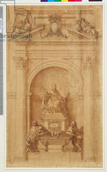 A design for the tomb of Urban VIII, St Peter's, Rome 1627-28 (pen and brown wash over black chalk on paper)
