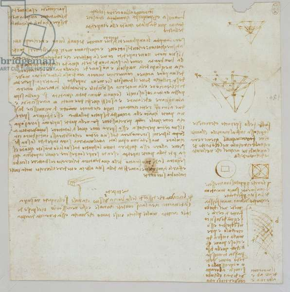 Studies of flowing water, with notes, c.1510-13 (pen and ink on paper)