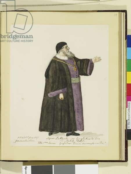 Signor Lablache as Gugliemo di Tero in Malek Adel, 1837 (w/c over pencil on paper)