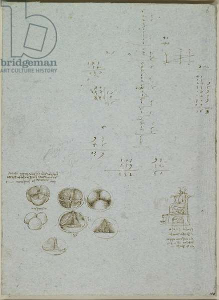 Studies of the valves of the heart, and sketch of a suditary, and calculations, c.1511-13 (pen & ink on blue paper)