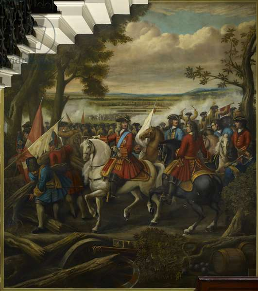 The Battle of Malplaquet 11 September 1709: Prince Eugene of Savoy (1663-1736) leading troops on the French redoubts, 1713-14 (oil on plaster)