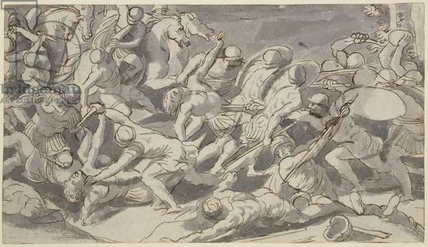 Battle of the Romans and the Sabines (pen & ink on paper)