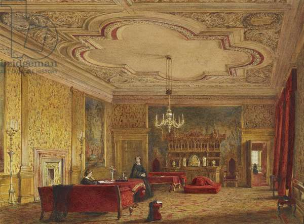 Palace of Holyroodhouse: The Presence Chamber of Evening (or Outer) Drawing Room (w/c & bodycolour with gum arabic over graphite)