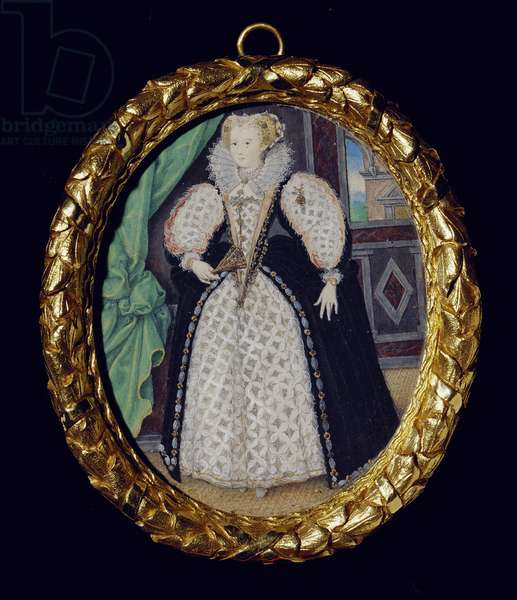 Portrait of a Lady, perhaps Penelope, Lady Rich, c.1589 (w/c on vellum laid on card)