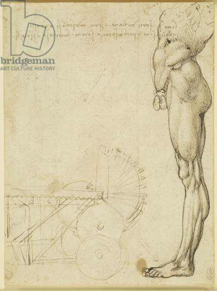 Recto: The torso and leg of a nude man in profile, and a study of machinery, c.1488-90 (pen & ink over traces of black chalk on paper) (recto of 5674284)