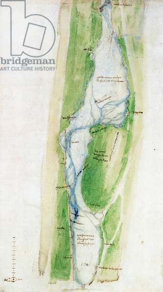 A map of the Arno east of Florence, 1504 (pen & ink with wash on paper)