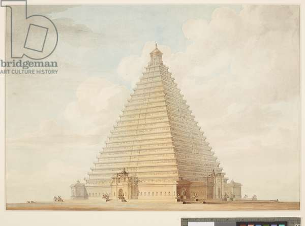 A design for a pyramid commemorating the Napoleonic Wars, 1815 (w/c on paper)