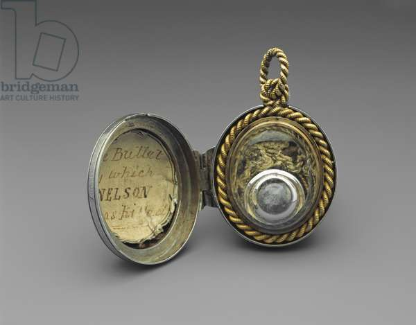 The Nelson Bullet, 1805 (lead, silk, silver, glass & gilt metal)