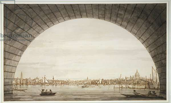 London: the city seen through an arch of Westminster Bridge, c.1750 (pencil, pen & ink and wash on paper)
