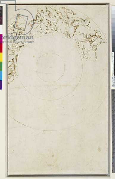 Study for a salver with marine deities, c.1510 (pen & ink on paper) (verso of 3552302)