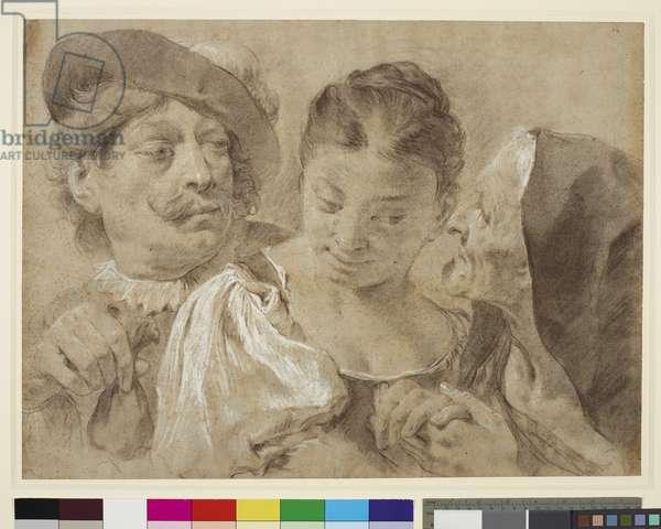 The Procuress, c.1730 (black & white chalks on paper)