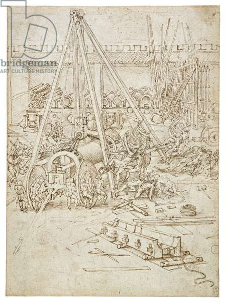 A scene in an arsenal, c.1485-90 (pen & ink over black chalk on paper)