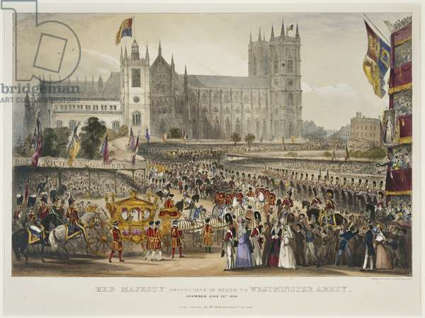 Her Majesty Queen Victoria proceeding in State to Westminster Abbey. Crowned 28 June 1838, published 28 Jul 1838 (colour litho)
