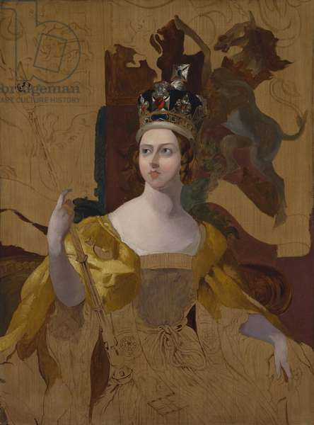 Queen Victoria, c.1840-71 (oil, pencil & crayon on canvas)