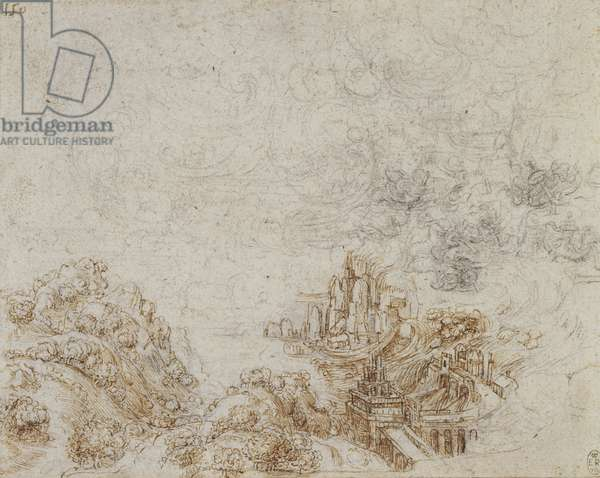 Storm over a hilly landscape, c.1517-18 (pen & ink over chalk on paper)