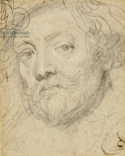 A self-portrait in old age, c.1635-40 (black and white chalks with pen and ink on rough paper)