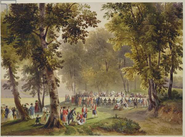 Royal visit to Louis-Philippe: open air luncheon at Ste Catherine-à-Garde-Chasse, 6 September 1843, dated 1843 (bodycolour & wash on paper)
