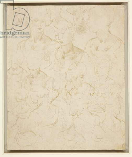 Sketches of the bust of a woman, c.1490 (metalpoint on pale buff prepared paper)