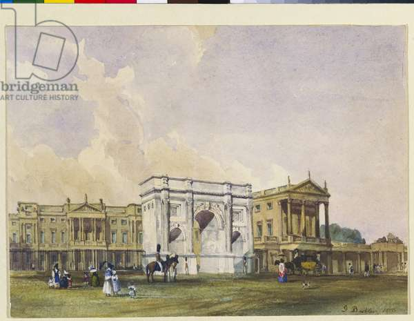Buckingham Palace with Marble Arch, 1835 (pen & ink with w/c over pencil on paper)
