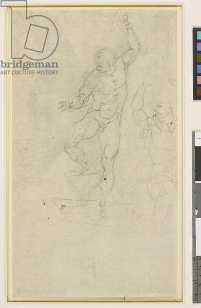 Two sketches of the Risen Christ, verso (charcoal)