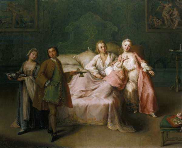 The Married Couple's Breakfast, 1744 (oil on panel)