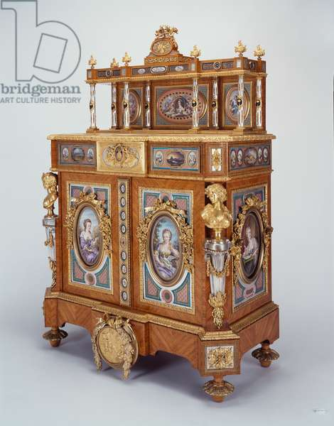 Cabinet, 1854-55 (tulipwood, marquetry, silvered and gilt bronze, porcelain)