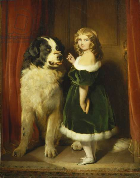 Princess Mary Adelaide of Cambridge with Nelson, a Newfoundland Dog, c.1839 (oil on canvas)