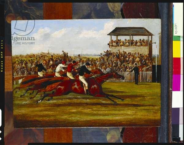 West Australian winning the Derby in 1853, c.1853 (oil on canvas on panel)