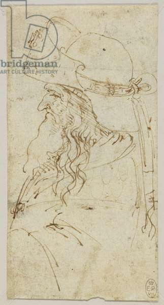The head and shoulders of an old man in profile wearing a hat, c.1480-85 (pen & ink on paper)
