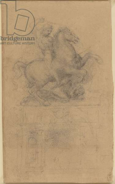 A design for an equestrian monument, c.1485-88 (metalpoint on blue-grey prepared paper)
