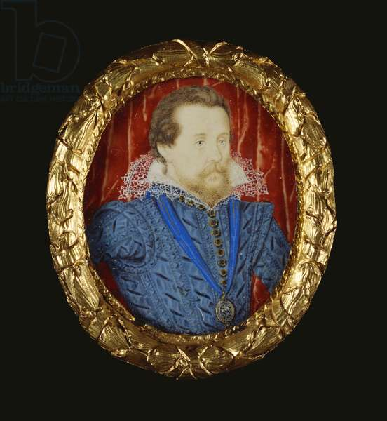 James I, c.1609-15 (w/c on vellum laid on playing card)