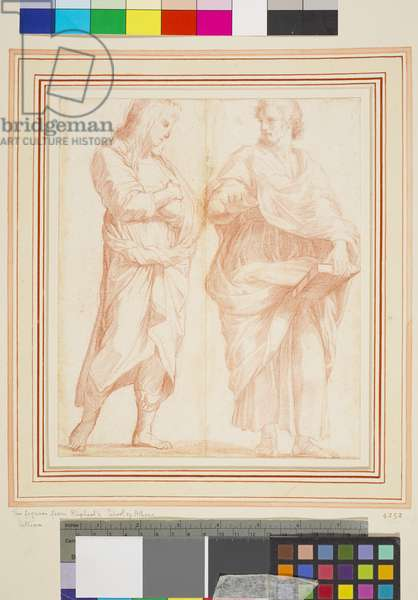 School of Athens: two figures (red chalk on paper)
