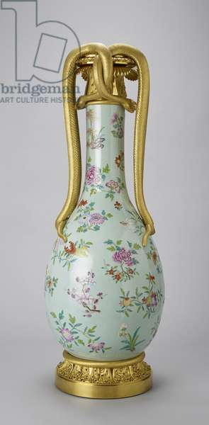 Vase with mount, vase: 1780-1810, mount: 1800-25 (porcelain with a celadon glaze painted in white slip and famille rose enamels and gilt, with gilt bronze)
