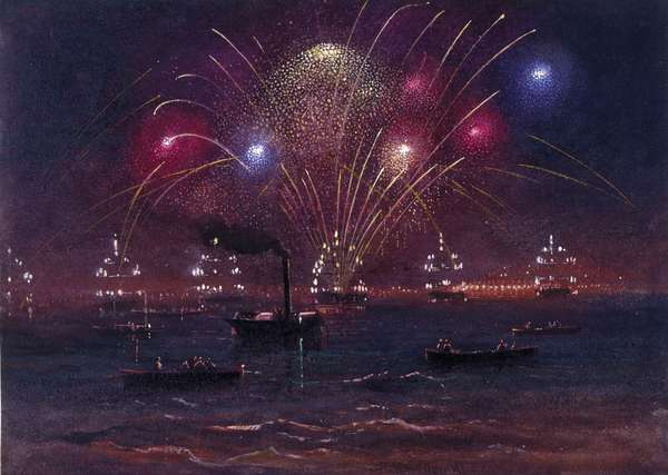 Illuminations and Fireworks at Spithead (w/c & bodycolour)