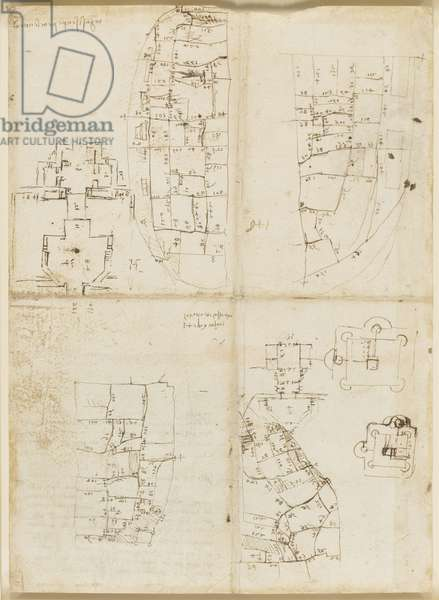 Recto: Sketches of the street plan of Imola, 1502 (pen & ink on paper)