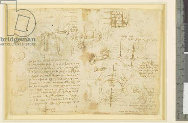 Verso: Studies of coition, wave propagation, architecture, engineering, etc., c.1510 (pen & ink on paper) (verso of 5920192)