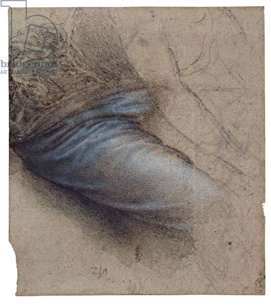 The drapery of the Virgin's thigh, c.1515-17 (charcoal & black chalk, with brown wash, and white heightening)