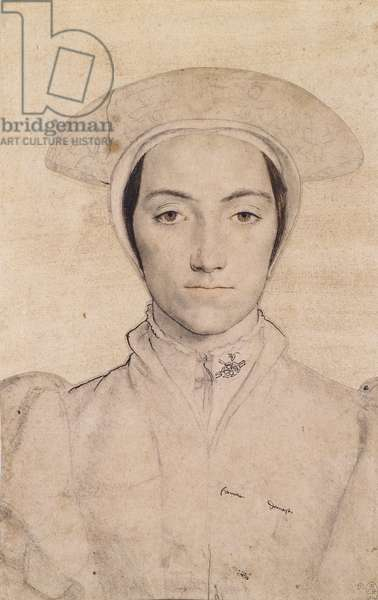 An unidentified woman, c.1532-43 (chalk and gouache with pen & ink on paper)