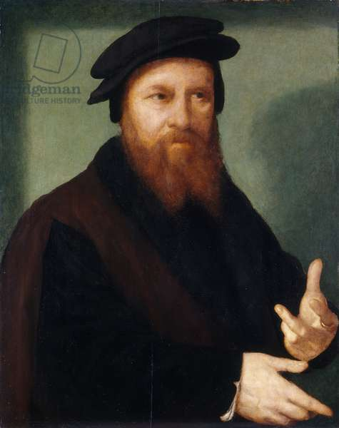 Self portrait, 1530-35 (oil on panel) (pair of 397493)
