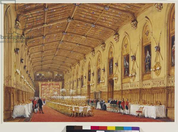 The Queen and Louis-Philippe entering St Georges Hall from the south-east, 9 October 1844 (w/c on paper)