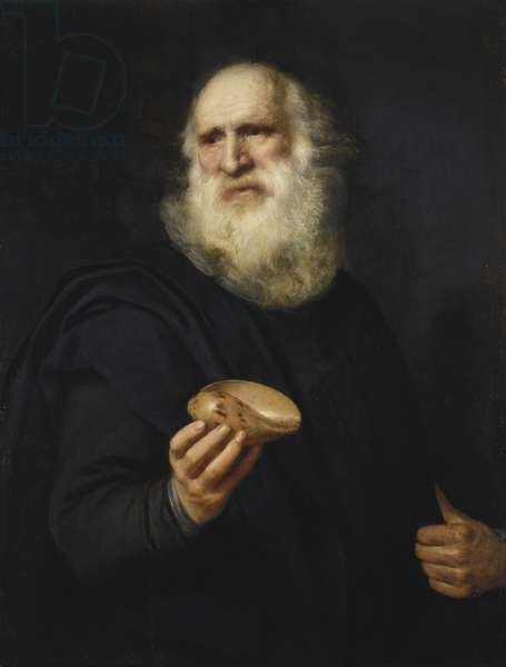 A bearded old man with a shell, c.1606 (oil on panel)