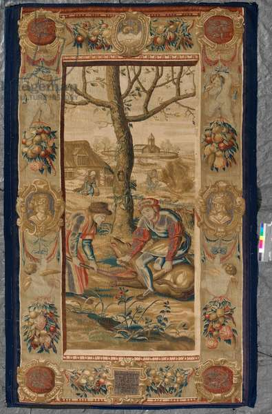 The Twelve Months: December, 1623 (woven silk and wool tapestry with gilt-metal- and silver-wrapped thread)
