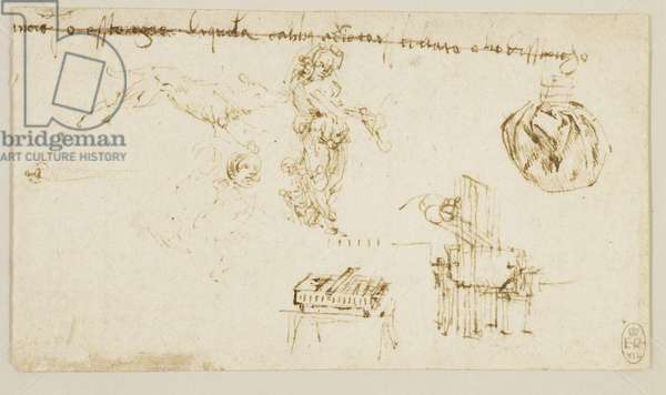 Miscellaneous studies, including a nymph, a wolf, a flying putto, machines, and drapery, c.1490 (pen & ink on paper)