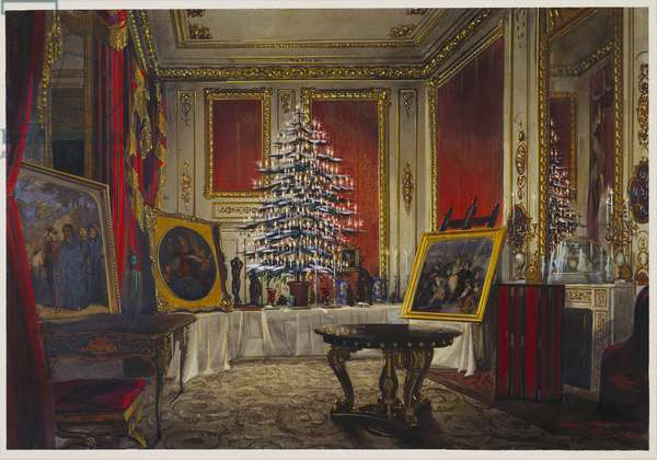 The Queen's Christmas tree at Windsor Castle, 1850 (w/c & bodycolour on paper)