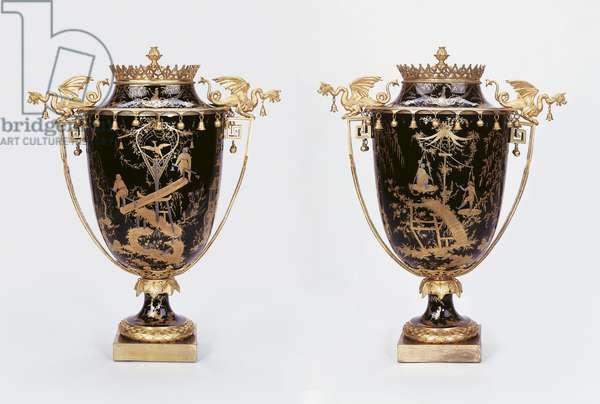 Vases a Monter, Sevres Porcelain Factory, c.1791-92 (hard-paste porcelain, platinum, gold & gilt bronze)