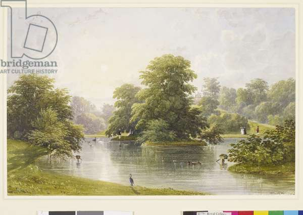 Buckingham Palace: gardens, lake and Garden Pavilion, c. 1845 (w/c & gouache on paper)
