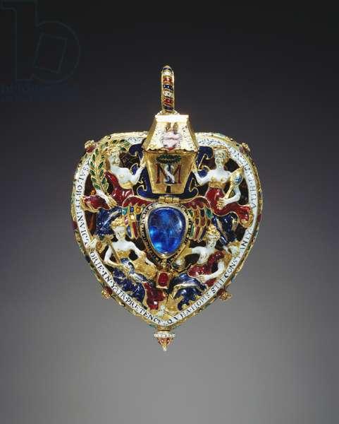 The Darnley or Lennox Jewel, c.1571-78 (gold, enamel, rubies, emerald & cobalt-blue glass)